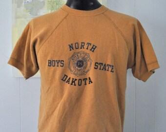 Super Rare Sweatshirt Tee by Velva Sheen North Dakota Boys State School 60s 70s RARE Vintage Burnt Sienna Orange Sweatshirt TShirt LARGE