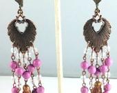 "Handcrafted Bronze Copper Leaf of Life Goddess 4 1/2"" Chandelier Earrings OOAK Free Ship"