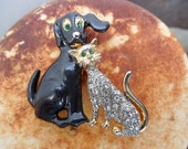 vintage cat and dog brooch