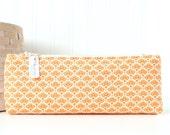 Orange Floral Pencil Case Floral Pencil Pouch Orange Purse Organizer