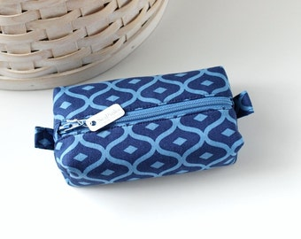 Small Boxy Pouch Navy Blue Coin Purse Dark Blue Change Purse Credit Card Holder