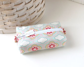 Small Boxy Pouch Blue Floral Coin Purse Floral Change Purse Credit Card Holder