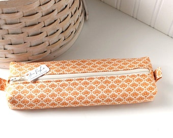 Orange Floral Cute Pencil Case Boxy Pouch Orange and White Zipper Pouch