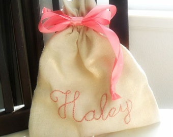 Flower Girl Gift Personalized Bag / Drawstring Linen cotton bag /  Anniversary Gift / Bridesmaids Party Favors  Bridal Gift Goodie bags