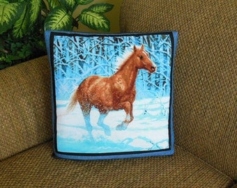 Ready to Ship - Snowy Winter Horses Wild Horse Country QUILLOW - the quilt that folds into a pillow
