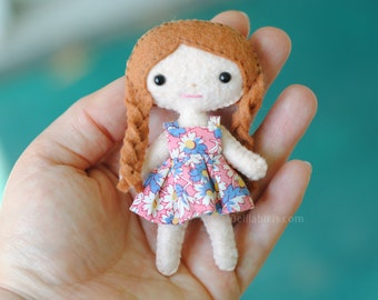 Mini Felt Doll Pattern - Lola The Cutie Pie Pocket Doll * 4 inch Tiny Kawaii Doll Sewing Pattern *