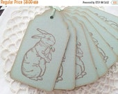 SALE SALE Bunny Rabbit Tags Sage Green Baby Shower Favor Tags Set of 20