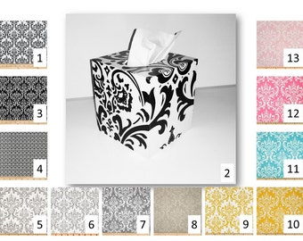 Damask tissue cube cover in your choice of fabric - kleenex box cover