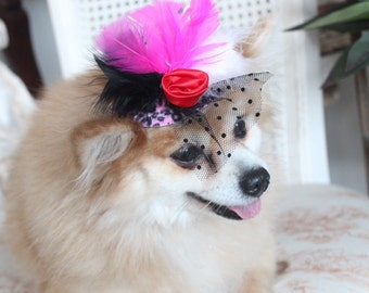 Cute   leopard  print  mini  hat with   feather and   flowers for dog or cat