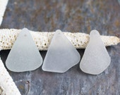 Frosted White Seaglass Trio. Top Drilled. Lot Q9.
