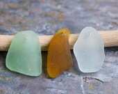 Top Drilled Seaglass Pendants in Seafoam, Light Amber Brown, & White. 3 Pieces. Lot D5
