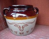 Vintage Monmouth Western Stoneware Longhorn Bean Pot Maple Leaf USA  No Lid