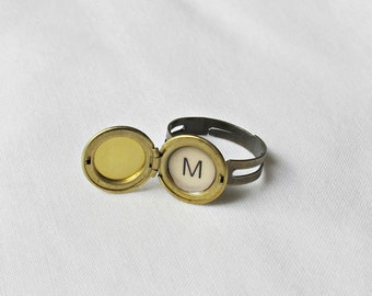 Personalized Initial Locket Ring. Monogram Alphabet Miniature Trinket Jewellery. Jewelry Raw Brass Vintage Personalised. For Her Gift Teens