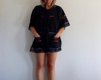 Black Lace Dress Vintage Tunic