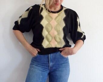 Angora Sweater Womens Vintage Black Knit