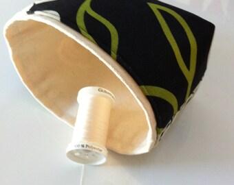 modern fabric storage bin  //  mini basket // green, black and cream