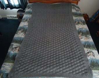 Medium Grey Mix Hand Knitted Basketweave Afghan,  Blanket,  Throw - Home Decor