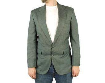 Mens Vintage Blazer 38R 40R Dark Sage Grayish Green Wool Blend Jacket Coat 80s Free US Shipping