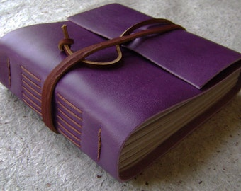 "Chunky leather journal, 408 pages, 5.5""x 5"", purple journal, handmade journal by Dancing Grey Studio on Etsy (2034)"
