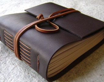 "Chunky leather journal, 408 pages, 5.5""x 5"", dark brown, handmade journal (2029)"