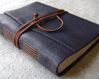 "Leather journal, 5.5""x 7.5"", navy blue journal, handmade journal by Dancing Grey Studio (2060)"