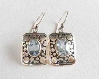 Sterling Silver Topaz dangle Earrings / 1.25 inch long / Jewelry handmade from Bali / Silver 925