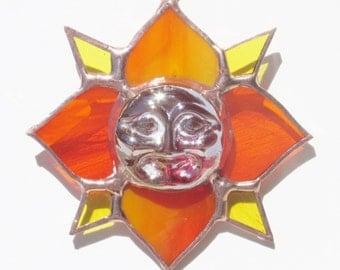Stained Glass, Sun Catcher, Moon, Ornament, Lotus Flower, Orange Glass, Yellow Glass, Red Glass, Glass Beads, Garden Art, Window Hanging