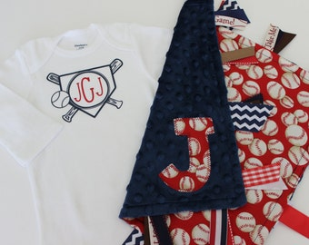 personalized, taggie, blanket, onesie, gift, set, baby, boy, monogram, baseball, red, navy, lovey, ribbon, minky