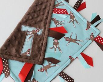 Taggie, Blanket, Baby, Boy, Personalized, Minky, Ribbon, Sensory, Gift, Tags, Lovey, Sock Monkey