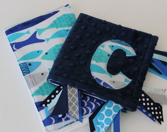 taggie, blanket, custom, burp cloth, personalized, baby, boy, gift, set, nautical, fish, ocean, navy, blue, minky, ribbon, sensory, lovey