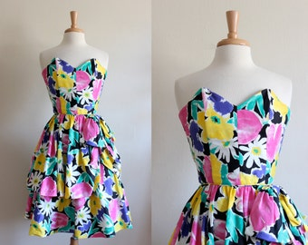 Vintage 1980s Yellow & Pink Floral Strapless Party Dress