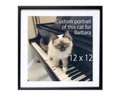 Personalized Custom Portrait ? Original Watercolor Painting - Animal Art 1 face in 1 painting cat pet dog watercolor artwork  - 9 x 12