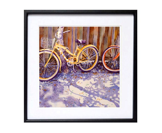 1 Bicycle Art Prints Watercolor painting Bicycle art Watercolor bikes Bicycle painting Watorcolour bicycle aquarelle Bicycle decor bike
