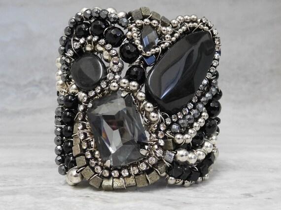 Rocker Chic Cuff Bracelet in Black & Silver- Unique Edgy Biker Chic Luxury Jewelry by Sharona Nissan (4058b)