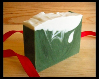 Snowy Forest Olive Oil Soap, Fresh Mountain Air, handmade soap • Fall Winter soap, Pine, Fir Needle, Mint Soap • Dad gift, Husband gift