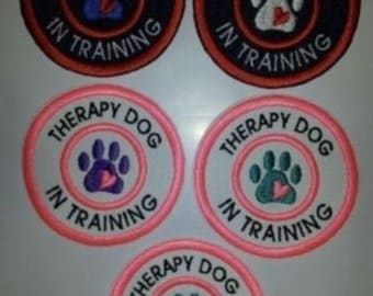 """U Pick Color Combo Sew On Embroidered Patch 3"""" - Therapy Dog In Training"""