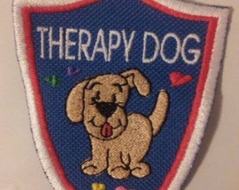 Royal Blue Shield Embroidered Sew On Patch - Therapy Dog with Hearts