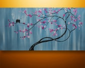 Abstract Painting,Tree Painting, Landscape Painting, Asian Decor, Cherry Blossom, Abstract Wall Art, Love Birds, Two Little Birds, Pink