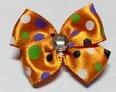 Halloween Fall Orange Dot Design Dog Grooming Hair Bow with Clear Rhinestone Center