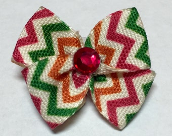 Halloween & Fall Hot Pink, Green, Orange Chevron Print Dog Grooming Hair Bow with Hot Pink Rhinestone Center