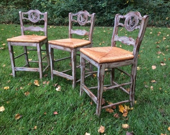Distressed Paris Gray Annie Sloan Bar Stools - 3