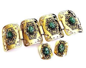 Selro Aqua Green Confetti Cuff Bracelet Earring Set Demi Parure