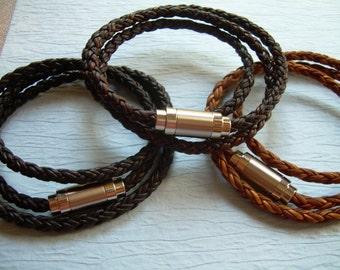 Premium Triple Wrap Braided Leather Bracelet, Mens Bracelet, Wrap Bracelet, Magnetic Clasp, Mens Jewelry,Leather Bracelet, Leather Jewelry