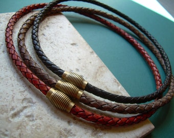 Magnetic Clasp Braided Leather Necklace, Leather Necklace, Mens Necklace, Mens Jewelry, Mens Gift, Gift for Him, Leather Jewelry, His