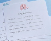 Baby Prediction Cards - Baby Shower Games - Baby Forecast Cards - Baby Wish Cards - Baby Elephant Wish Cards  - BPC
