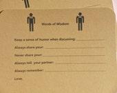 Male Same Sex Wedding Wish Cards - Shower Games - Humorous Wedding Wish Cards - Kraft Card Stock Wish Cards - Gay Wedding Wish Cards - SSWM