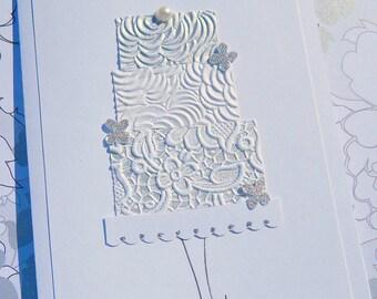 Wedding Card - Congratulations On Your Wedding - Wedding Cake Card - Bridal Shower Card - Glitter Wedding Cards - Wedding Wishes Card - TPC