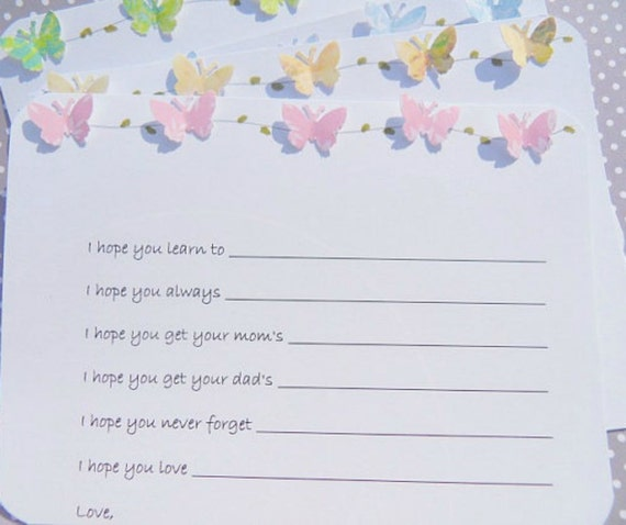 Baby Shower  Wish Cards - Baby Wish Cards - Butterfly Wish Cards - Baby Shower Games - Wishes for Baby Cards - Butterfly Baby Cards - BFW