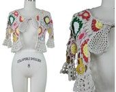 Crochet Sweater Shrug / Vintage Crochet Sweater / Cropped Crochet Sweater / Boho Crochet Sweater / Festival Crochet Cardigan / Flower Power