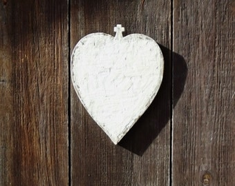 Wooden Heart Plaque with Cross Inspired by French Memorial Plaque